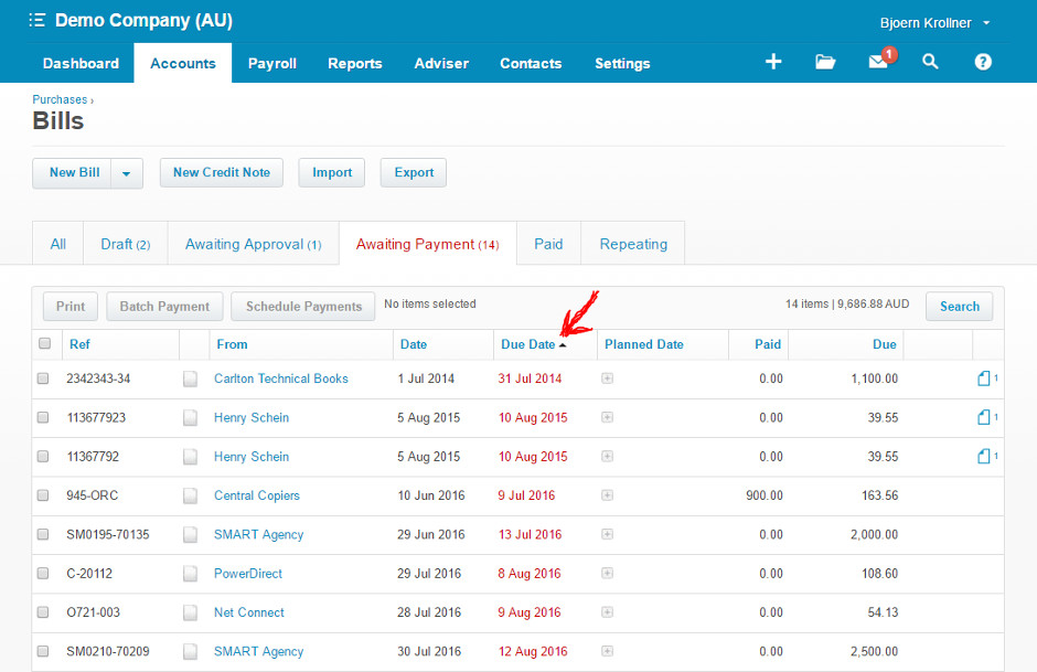 Sort bills by due date in Xero